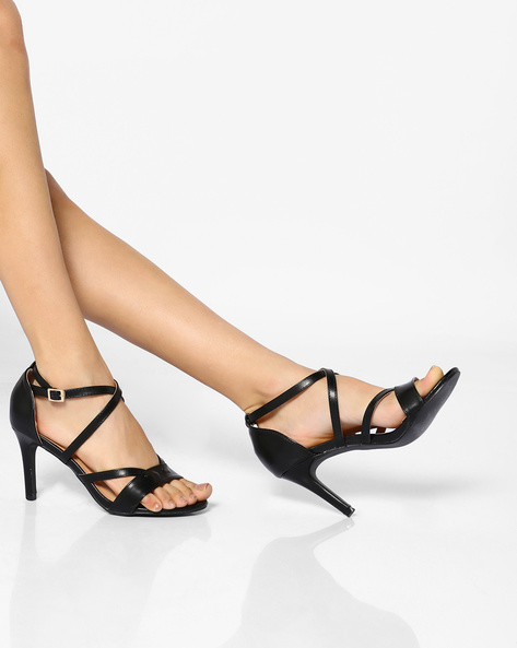 Ankle-Strap Stilettos With Criss-Cross Upper By AJIO ( Black )
