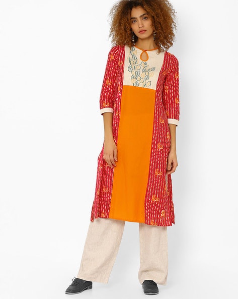 Printed Straight Kurta With Embroidery By Kifahari ( Pink )