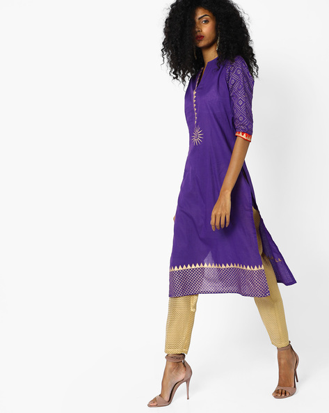 Straight Kurta With Printed Sleeves By Shakumbhari ( Purple )