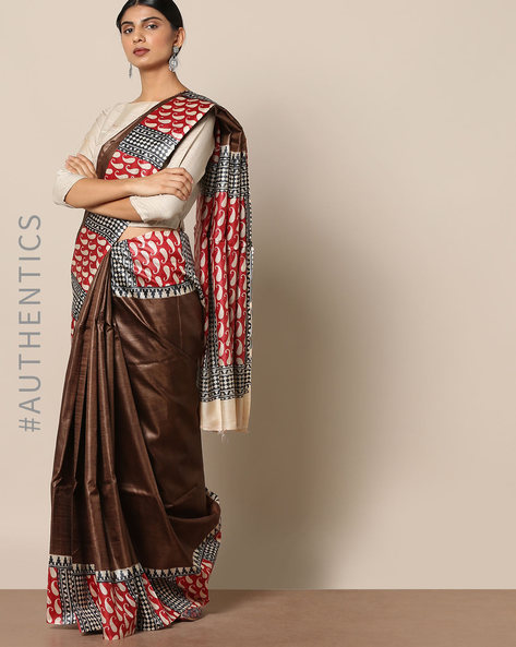 Handloom Pure Silk Tussar Printed Saree By Indie Picks ( Multi )