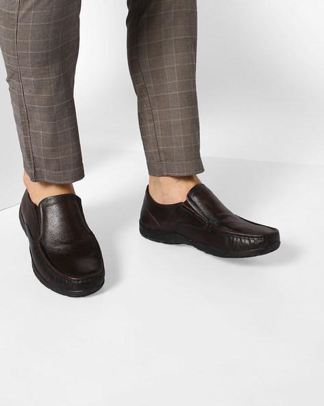Textured Genuine Leather Slip-On Shoes By RED TAPE ( Brown )