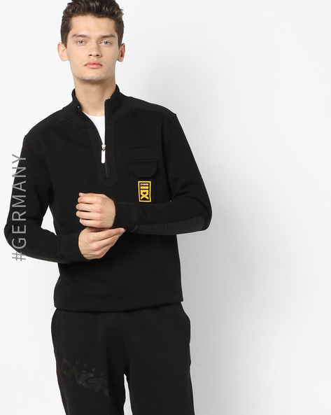 Band Collar Sweatshirt With Patch Pocket By Dangerous DNGRS ( Black )