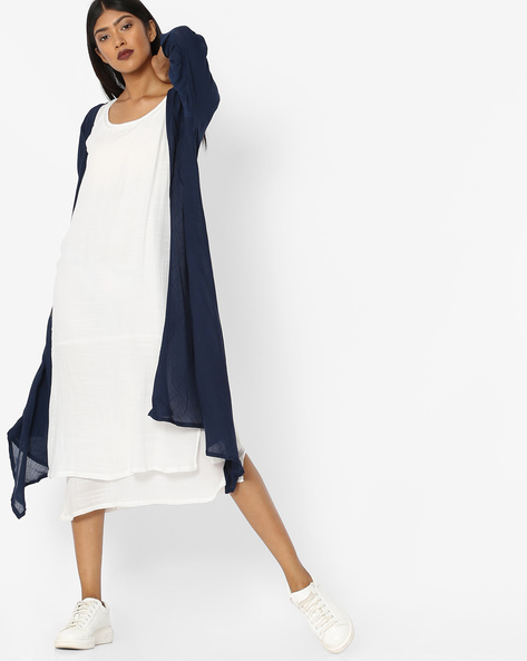 Layered Dress With Contrast Shrug By Tokyo Talkies ( Multi ) - 460135253003