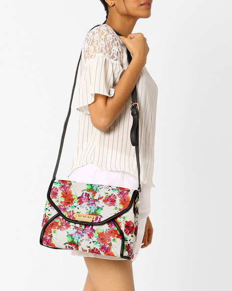 Floral Print Sling Bag By AJIO ( White )