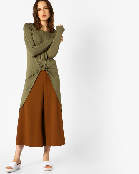 High-Low Knotted Top With Long Sleeves By FIG ( Khaki )