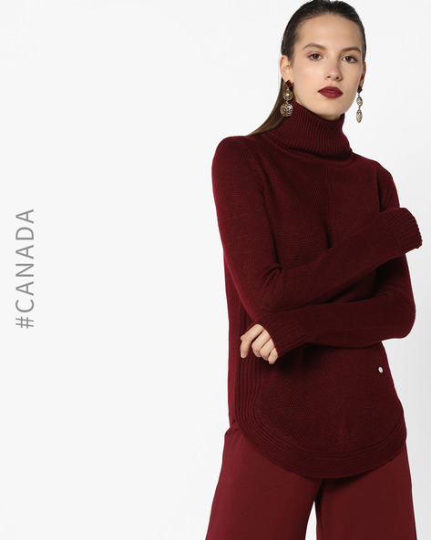 High-Neck Pullover With Curved Hemline By Point Zero ( Wine )