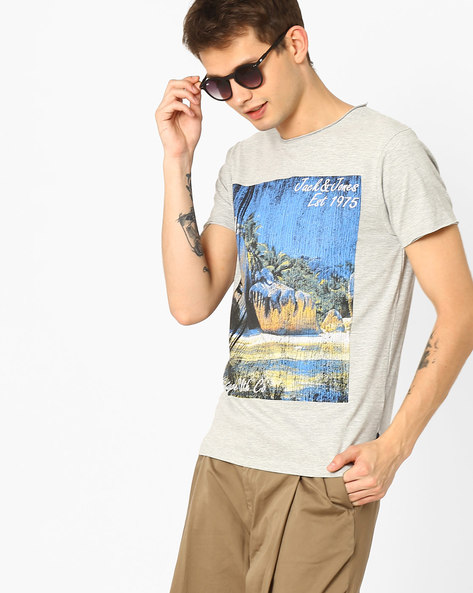 Slim Fit Printed T-shirt By Jack & Jones ( Lightgrey )