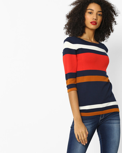 Striped Slim Knitted Top By FIG ( Navy )