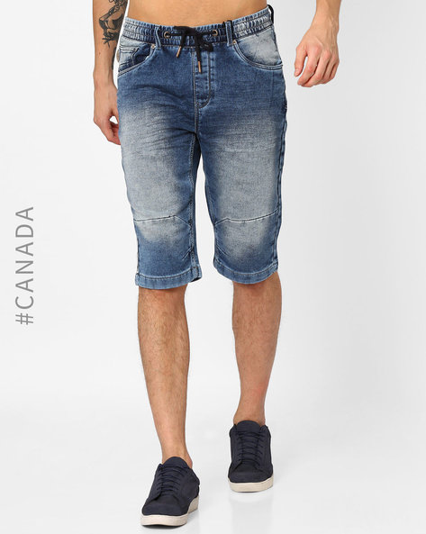 Knitted Denim Shorts With Drawstring Waist By Point Zero ( Indigo )