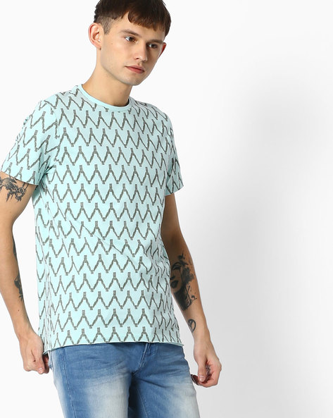 All-Over Printed T-shirt By AJIO ( Lightblue )