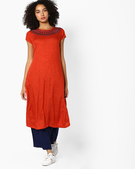 Floral Print Back Overlap Kurta With Embroidery By AJIO ( Rust )