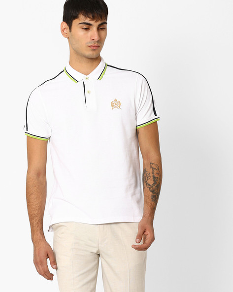 Polo T-shirt With Contrast Taping By TEAM SPIRIT ( White )