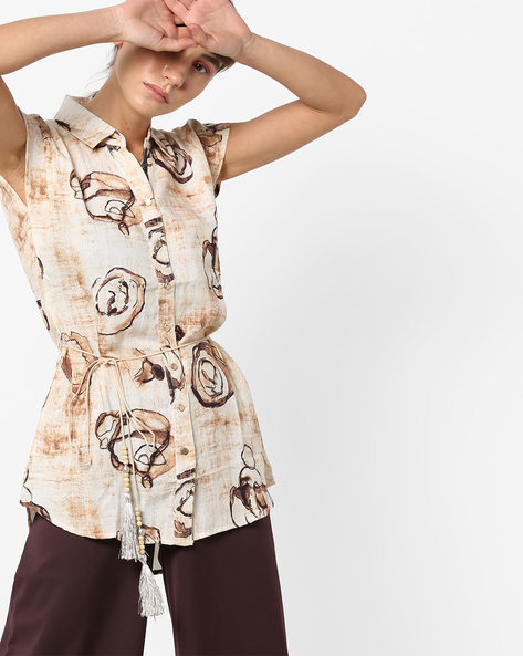 Printed Shirt With Tasseled & Beaded Tie-Up By Deal Jeans ( Brown )