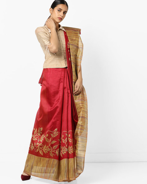 Floral Print Saree With Contrast Border By Florence ( Red )