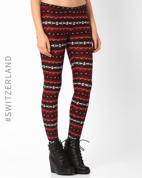 Printed Leggings By TALLY WEiJL ( Wine )