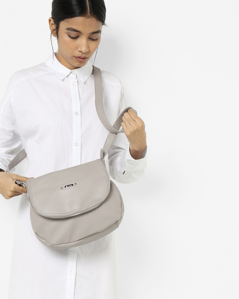 Luba Sling Bag With Zip Accent By Lavie ( Grey )