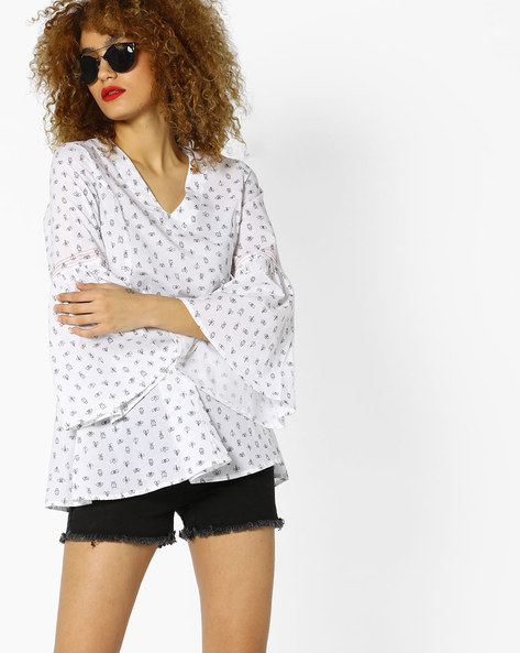 All-Over Print Top With Bell Sleeves By AJIO ( White )