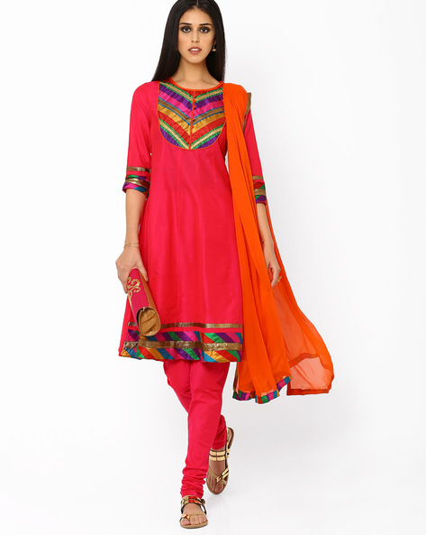 A-line Churidar Kurta With Dupatta By AJIO ( Pink )