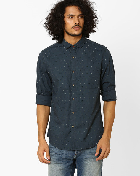 Regular Fit Shirt With Patch Pocket By JOHN PLAYERS ( Blue )