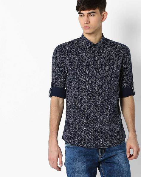 Regular Fit Floral Print Shirt By NETPLAY ( Navy )