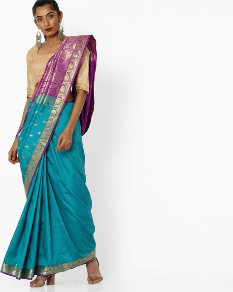 Colourblock Saree With Contrast Border By CHHABRA 555 ( Blue )