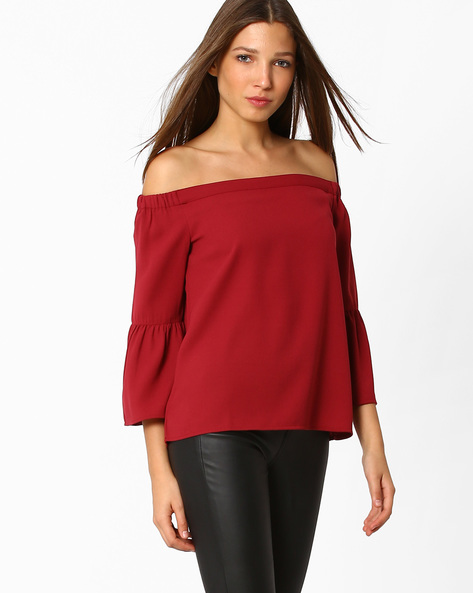 Off-Shoulder Top With Bell Sleeves By Femella ( Maroon )