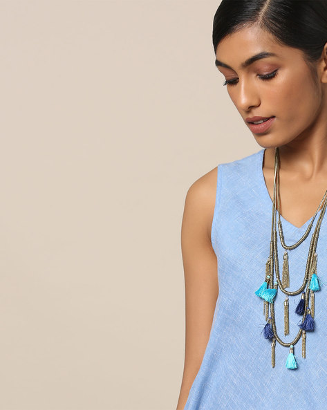 Multi-Strand Brass Necklace With Tassels By Indie Picks ( Multicolour )