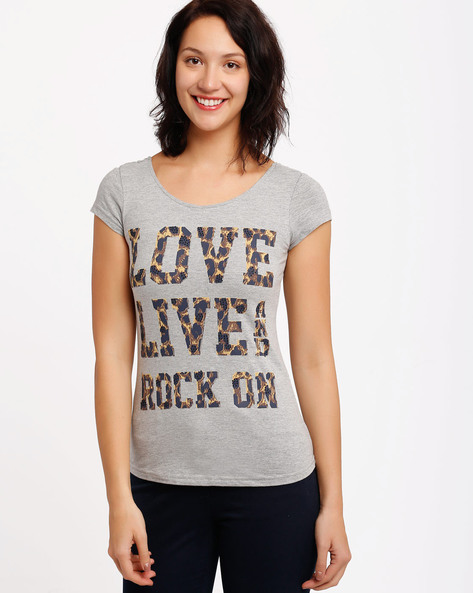 Printed T-Shirt By SF Jeans By Pantaloons ( Grey )