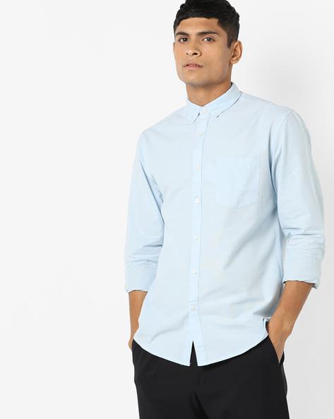 Button-Down Collar Cotton Shirt By AJIO ( Blue )