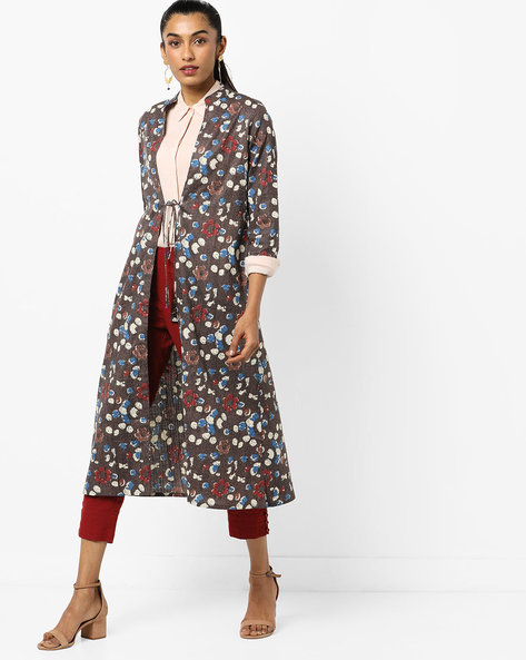 Printed Longline Jacket With Tie-Up By AJIO ( Brown )