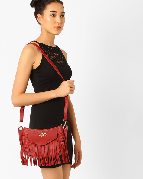Fringed Sling Bag By E2O ( Black )