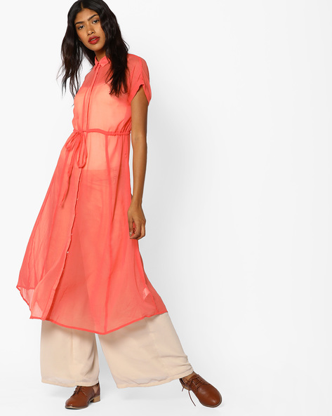 Sheer Dress With Tie-Up By COLOUR ME ( Coral )