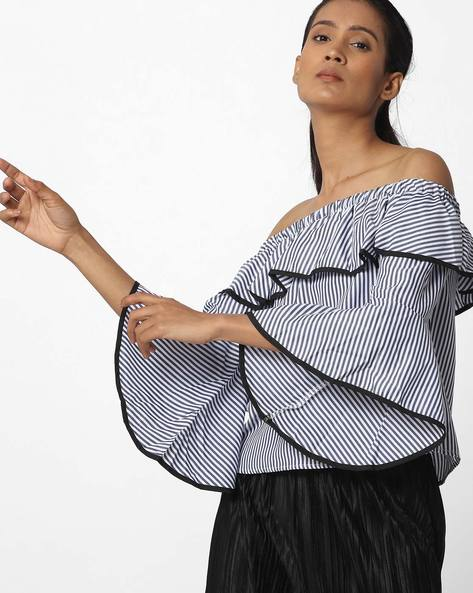 Ruffled Off-Shoulder Top By Ginger By Lifestyle ( Blue )