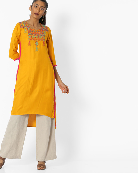 Embroidered Straight Kurta With High-Low Hem By AVAASA MIX N' MATCH ( Mustard )