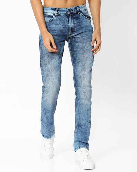 Heavily Washed Skinny Fit Jeans By JOHN PLAYERS ( Blue )