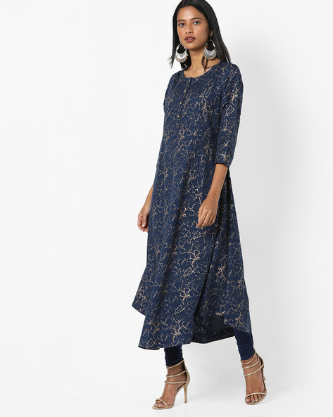 A-line Kurta With Insert Pocket By Project Eve IW Casual ( Indigo )