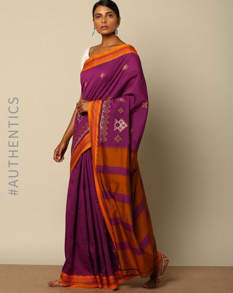 Kasuti Embroidered South Silk Saree By Indie Picks ( Purple )