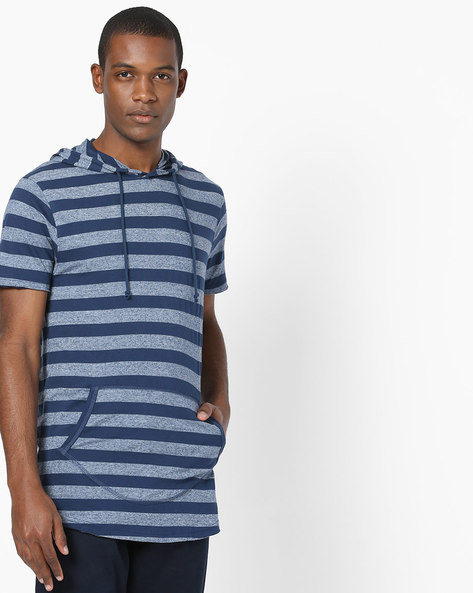 Hooded Striped T-shirt With Kangaroo Pocket By DNMX ( Navy )