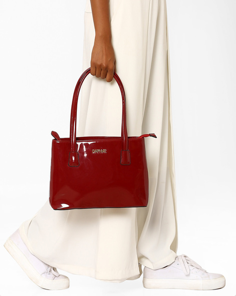 Handbag With Rolled Handles By Daphne ( Maroon )