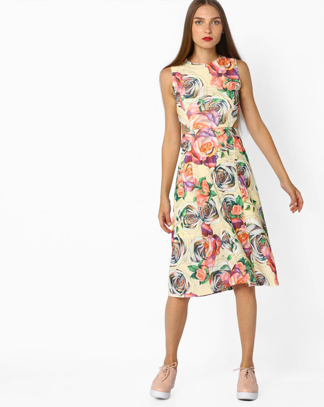 Floral Print Dress With Cut-Out By AJIO ( Yellow )