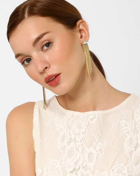 Metal Drop-Earrings With Tassels By AJIO ( Gold )