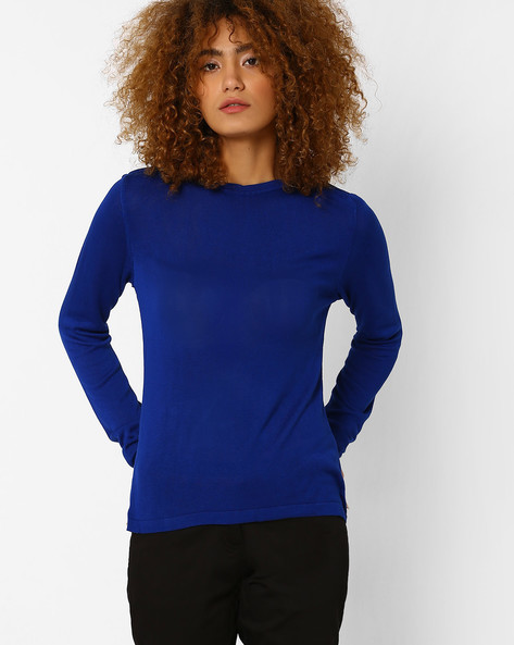 Flat Knit Pullover By AJIO ( Blue )