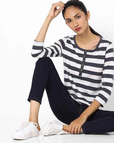 Striped Top With Roll-Tab Sleeves By Fame Forever By Lifestyle ( Navy )