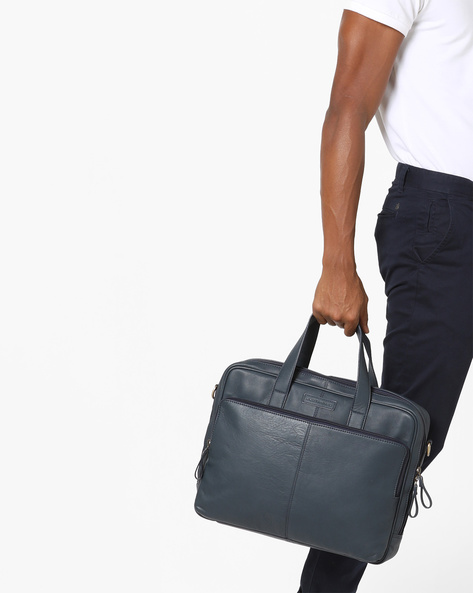 Genuine Leather Laptop Bag By JUSTANNED ( Blue )