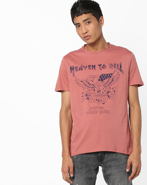 Printed T-shirt With Raw Edges By AJIO ( Pink )