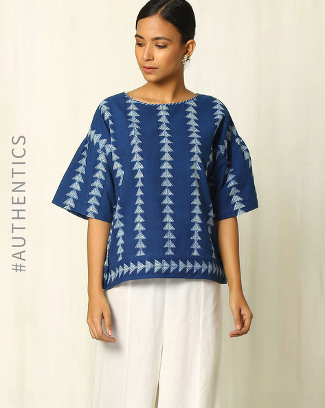 Handblock Geometric Print Indigo Cotton Top By Indie Picks ( Indigo )