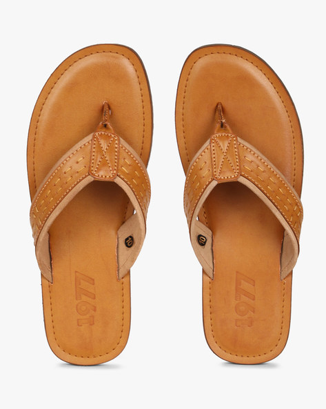 Textured Flip-Flops With Running Stitch Detail By Estd.1977 ( Tan )