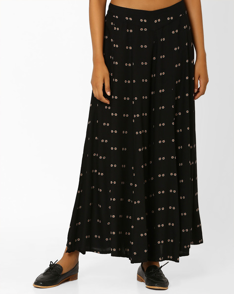 Floral Print Palazzo Pants By W ( Beige )