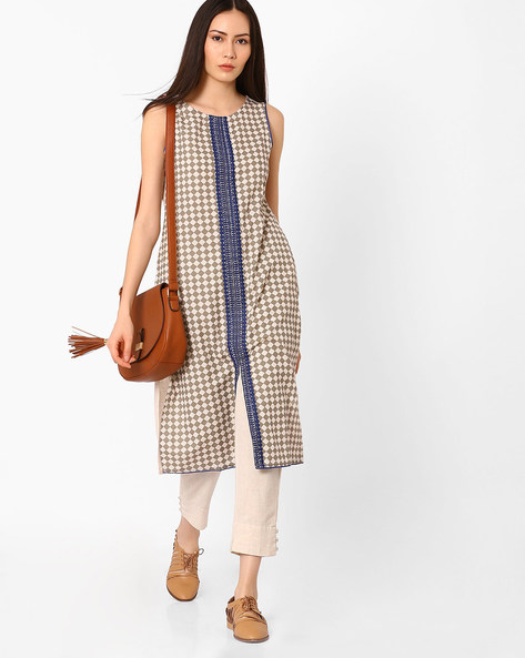 Checked Straight Kurta With Embroidered Panel By AVAASA MIX N' MATCH ( Blue )