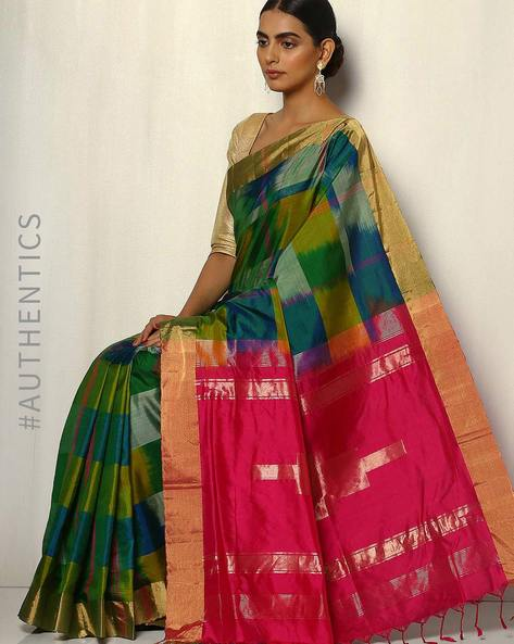 Handloom Arani Ikat Checked Pure Silk Saree By Pretty Woman ( Multi )